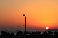 富岡城に沈む夕日。 - 青い海と空を追いかけて。