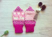 ピンクのうさぎミトン キッズ用 - ミトン☆愛犬 編みぐるみ Maronyのアトリエ