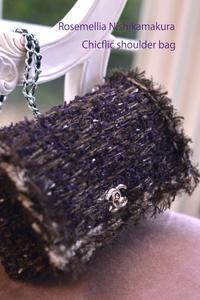 Chicflic tweed style & mofumofu fur bag - ローズメリア西鎌倉/パリ花レッスン&旬のバッグレッスン教室<CHICFLIC Leviosa japan Coquette.715認定講師>