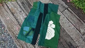 緑藍接ぎ合わせてジャケット制作中 - 古布や麻の葉