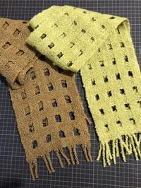 暖かい織物でぬくぬくしたい!みんなの作品です。 - 手染めと糸のワークショップ