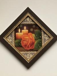 赤バラとキャンドルを描いた ミニフレーム作品です。 - 大畑悦子の想い出ペインティング