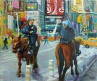 マンハッタンの騎馬警官 - 絵を描きながら