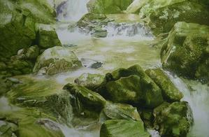 春の渓流の過程。題は未定です(^^;) - 小林啓子水彩の部屋