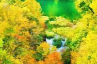隠高原 奥裾花渓谷の紅葉 3 - 光 塗人 の デジタル フォト グラフィック アート (DIGITAL PHOTOGRAPHIC ARTWORKS)