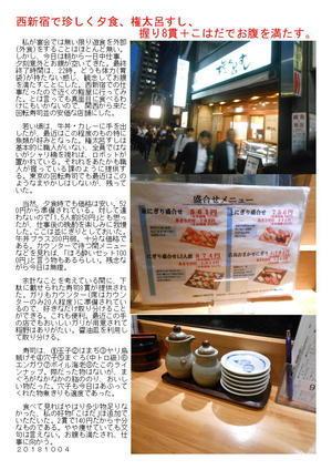西新宿で珍しく夕食、権太呂すし、握り+こはだでお腹を満たす。