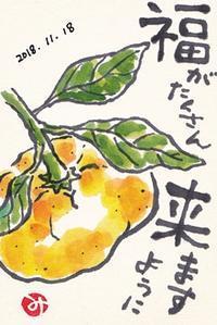 福が来る茨城のミカン - きゅうママの絵手紙の小部屋
