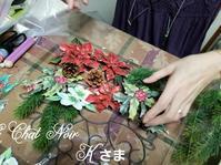 ソスペーゾのクリスマスレッスン - 猫が見学に…。東京大田区駅前のデコパージュ、ソスペーゾトラスパレンテ(3D)中心のクラフト教室Le Chat Noir(ル シャノワール)
