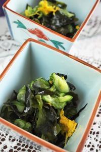 ■簡単に美味しく♪【菊の花入りワカメと胡瓜のお酢の物】菜園採りの食用菊で季節感を^0^ - 「料理と趣味の部屋」