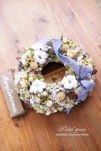 「お花畑」クリスマス ドライフラワーリース - Pastel green - Flower diary