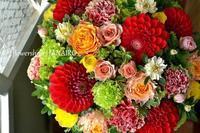 開店祝いに贈るmixカラーのフラワーアレンジメント。 - 花色~あなたの好きなお花屋さんになりたい~