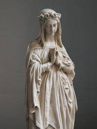 白い聖母像 高38cm 薔薇冠の聖母マリア / F808 - Glicinia 古道具店
