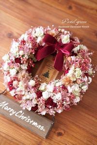 「お花畑」クリスマス ドライフラワーリース - 09 - Pastel green - Flower diary