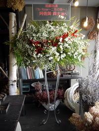 舞台「To Row~二匹の狼~」に出演される阿佐美 貴士さんへのスタンド花。「赤をポイントに」。コンカリーニョにお届け。2018/11/21。 - 札幌 花屋 meLL flowers