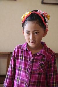 七五三七歳和風髪型ヘアスタイル着物ヘアアレンジ手作り髪飾りエスポワールスタイルさくら市美容室エスポワール - 美容室エスポワール