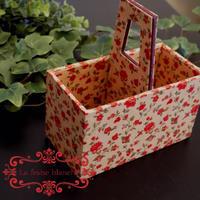 中級作品『持ち手のある箱』 - カルトナージュ教室 ~ La fraise blanche ~