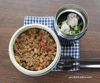 キーマカレー&豚しゃぶサラダ - 男子高校生のお弁当