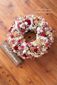 「お花畑」クリスマス ドライフラワーリース - 011 - Pastel green - Flower diary