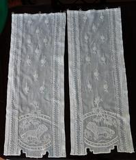ライオンの刺繍の小カーテン2枚139 - スペイン・バルセロナ・アンティーク gyu's shop