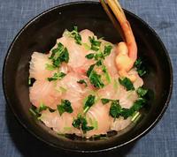 鯛の昆布締め丼 & 柿と春菊の胡麻和え - やせっぽちソプラノのキッチン2