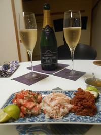小さいカニ、つめ先まで食べ尽くす、のは大変。キザンの泡で。 - のび丸亭の「奥様ごはんですよ」日本ワインと日々の料理