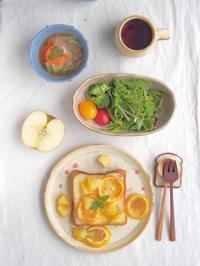 りんごとゆずトーストの朝ごはん - 陶器通販・益子焼 雑貨手作り陶器のサイトショップ 木のねのブログ