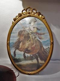 リボン装飾付き木製金彩楕円額838 - スペイン・バルセロナ・アンティーク gyu's shop