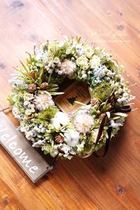 「お花畑」ドライフラワーリース - 012 - Pastel green - Flower diary
