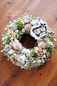 「お花畑」どんぐりくんのドライフラワーリース - 013 - Pastel green - Flower diary