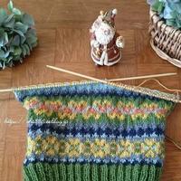 犬セーター編み中☆お魚キューブ - 狆の茶々丸