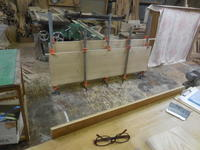 ダイニングテーブルの接ぎ合わせ。 - 手作り家具工房の記録
