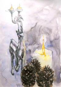 燭台と蝋燭と松ぼっくりと - ryuuの手習い
