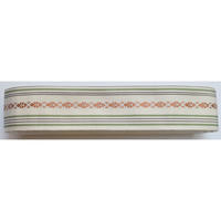 9485回 博多2.3寸袋帯二つ折白に金茶と薄紫 - 今日の凧人