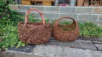 籠バッグ - 古布や麻の葉