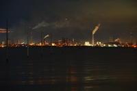 木更津市江川海岸の海中電柱と夜景ラスト - 日本あちこち撮り歩記