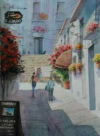 赤い路地 - まり子の水彩画