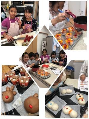 ■午前中授業になった 可愛い小学生女子のパン教室!! ゆきだるまやトナカイ - 手ごねパンの時間olive (奈良・大阪)
