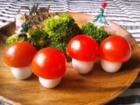 プチトマトとウズラの卵で、森のキノコ - Minha Praia