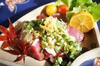 ■居酒屋メニュー【簡単5分!!鰹の山かけ】菜園長芋と葱をかけてます♪ - 「料理と趣味の部屋」