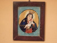 「キリストと聖母マリア」のほほえましいガラス絵です。 - 京都の骨董&ギャラリー「幾一里のブログ」