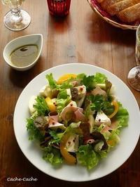 洋梨と生ハム、カマンベールのサラダ - Cache-Cache+