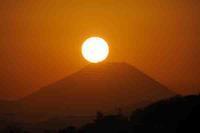 多摩川・富士山に沈む夕日 - 萩原義弘のすかぶら写真日記