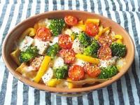 カボチャと野菜、鶏ハムのぎゅうぎゅう焼き - Minha Praia