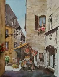 フランスの路地裏 - まり子の水彩画