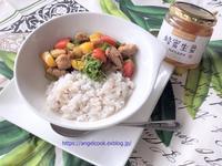 豚肉と野菜の蜂蜜生姜丼 - 天使と一緒に幸せごはん