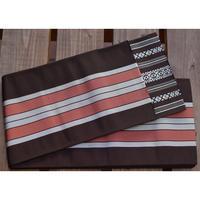 9509回 博多半幅袋帯縞(茶、白、薄紅) - 今日の凧人