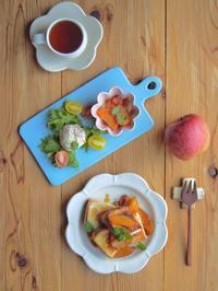 キャラメル焦がしりんごトーストの朝ごはん - 陶器通販・益子焼 雑貨手作り陶器のサイトショップ 木のねのブログ