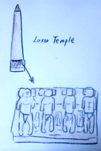 Day3 PMルクソール東側神殿はしご - たなかきょおこ-旅する絵描きの絵日記/Kyoko Tanaka Illustrated Diary