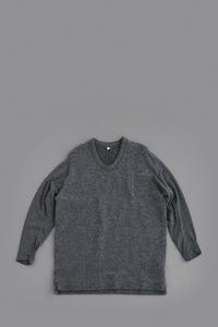 FIRMUM Wool Pile Knit × Wool Jersey Big Pullover (Grey Top) - un.regard.moderne