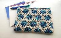 丸モチーフのポーチ - 空色テーブル  編み物レッスン